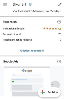 Recensioni App Google My Business